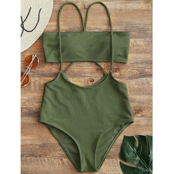 74df0fde15 Zaful Swim | Bandeau Top High Waisted Slip Bikini Bottoms M6 | Poshmark